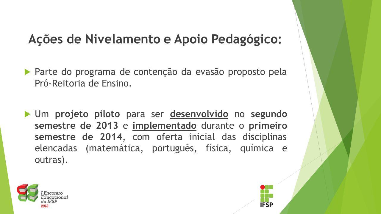 Ações de Nivelamento e Apoio Pedagógico: