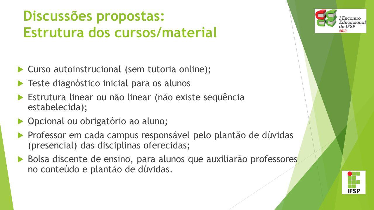 Discussões propostas: Estrutura dos cursos/material