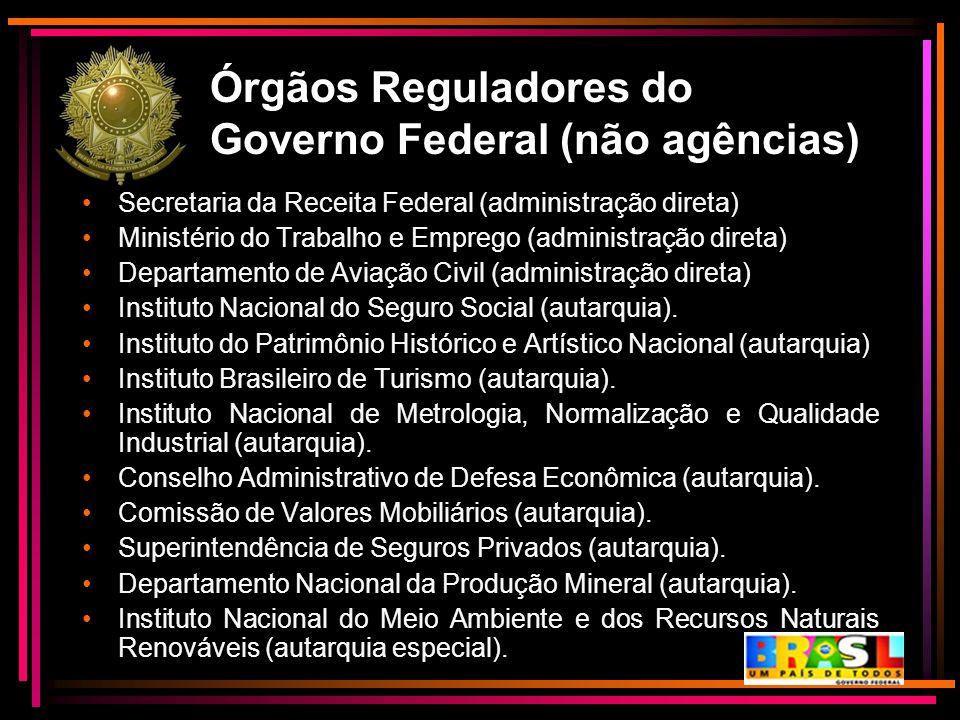 Órgãos Reguladores do Governo Federal (não agências)