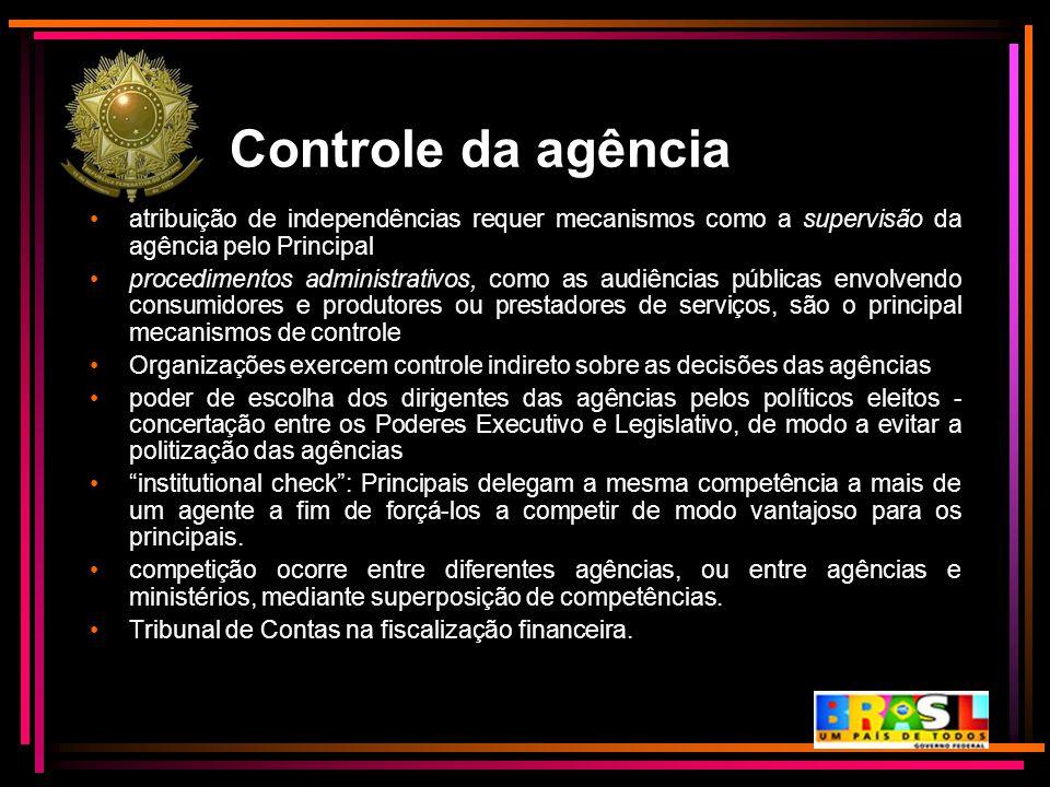 Controle da agência atribuição de independências requer mecanismos como a supervisão da agência pelo Principal.