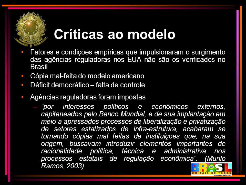 Críticas ao modelo Fatores e condições empíricas que impulsionaram o surgimento das agências reguladoras nos EUA não são os verificados no Brasil.