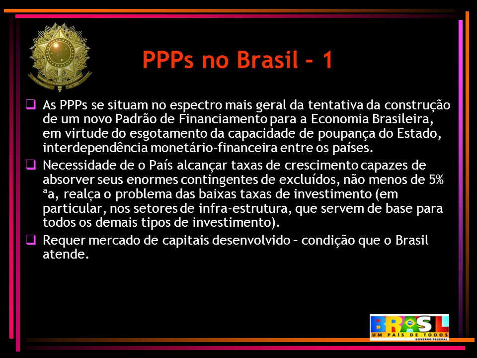 PPPs no Brasil - 1