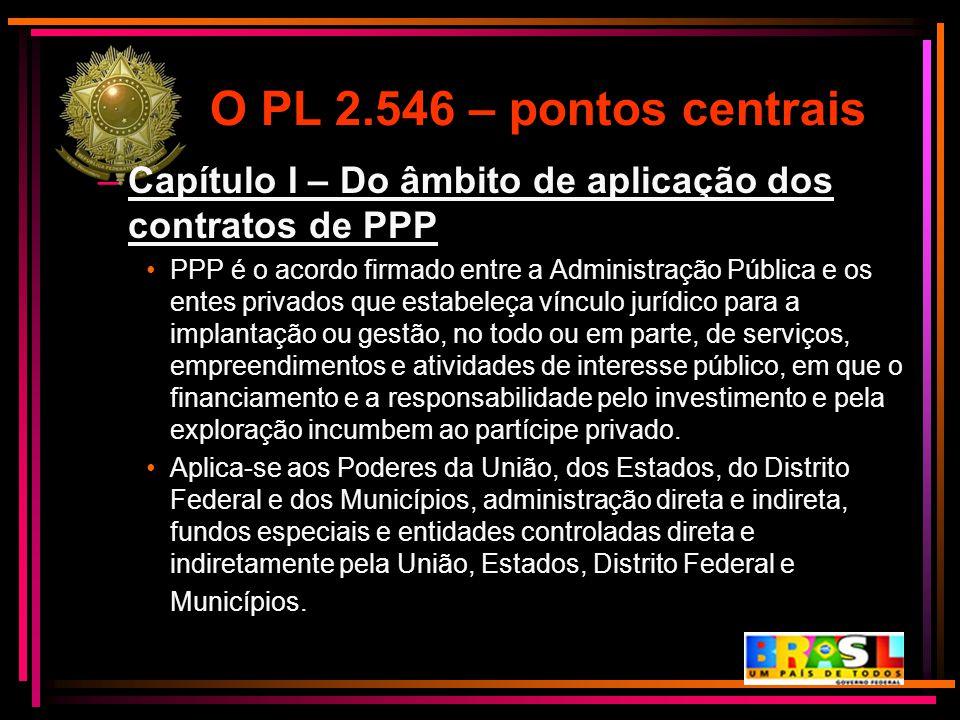 O PL 2.546 – pontos centrais Capítulo I – Do âmbito de aplicação dos contratos de PPP.