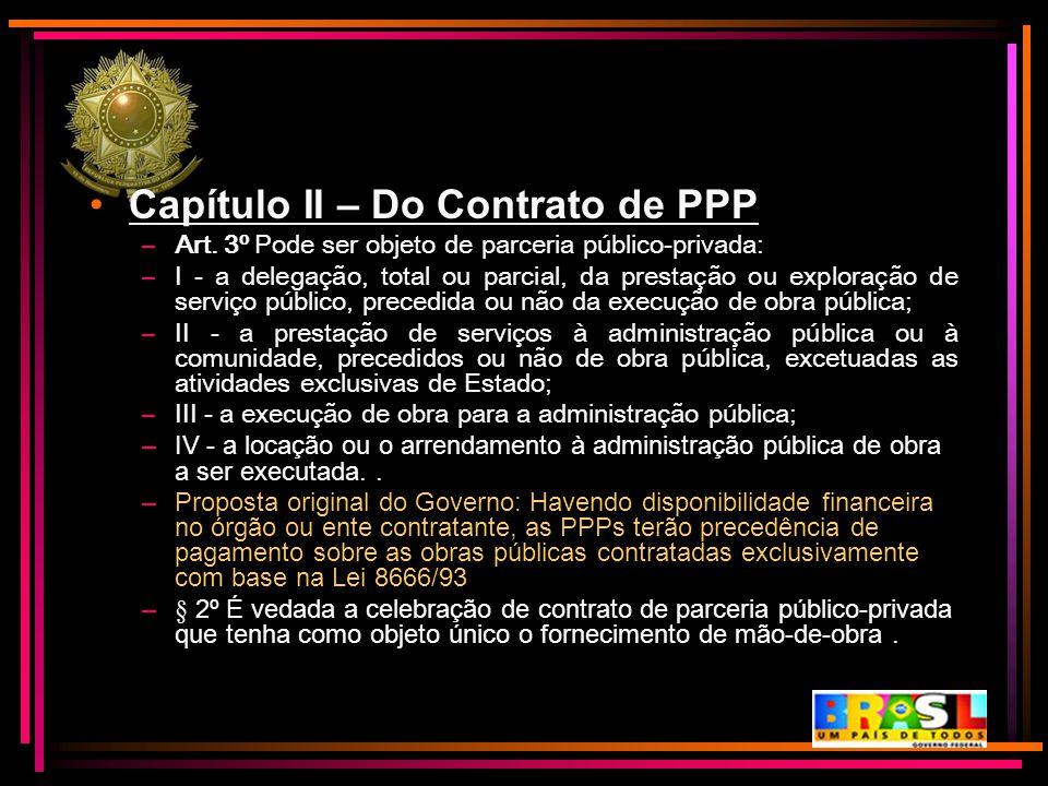Capítulo II – Do Contrato de PPP
