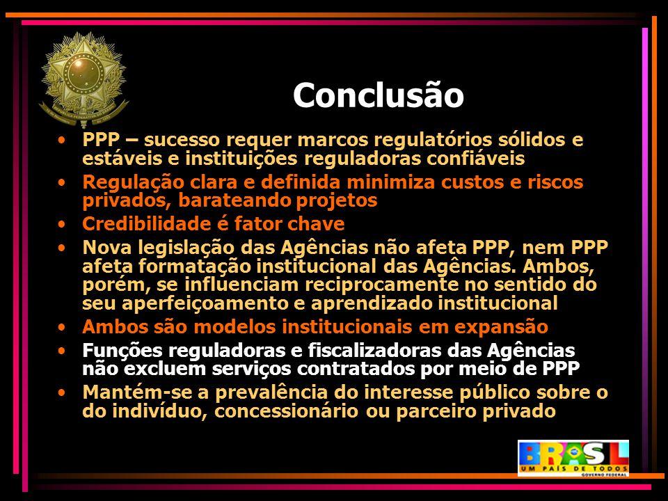 Conclusão PPP – sucesso requer marcos regulatórios sólidos e estáveis e instituições reguladoras confiáveis.