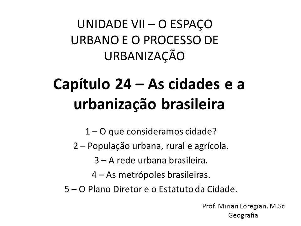 Capítulo 24 – As cidades e a urbanização brasileira