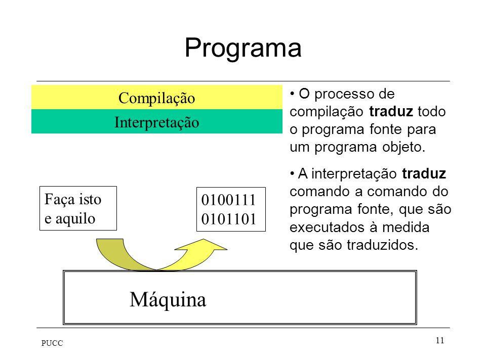 Programa Máquina Compilação Interpretação Faça isto e aquilo