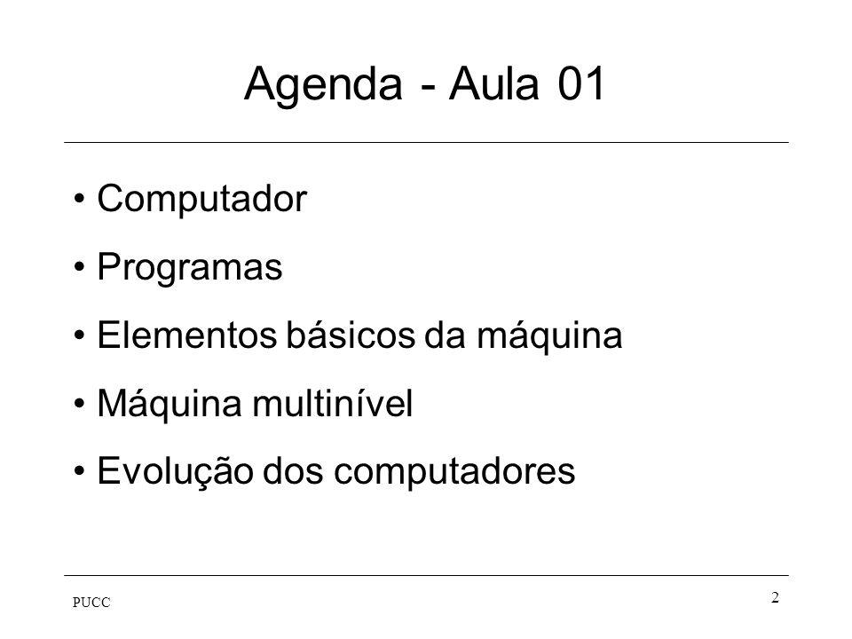 Agenda - Aula 01 Computador Programas Elementos básicos da máquina
