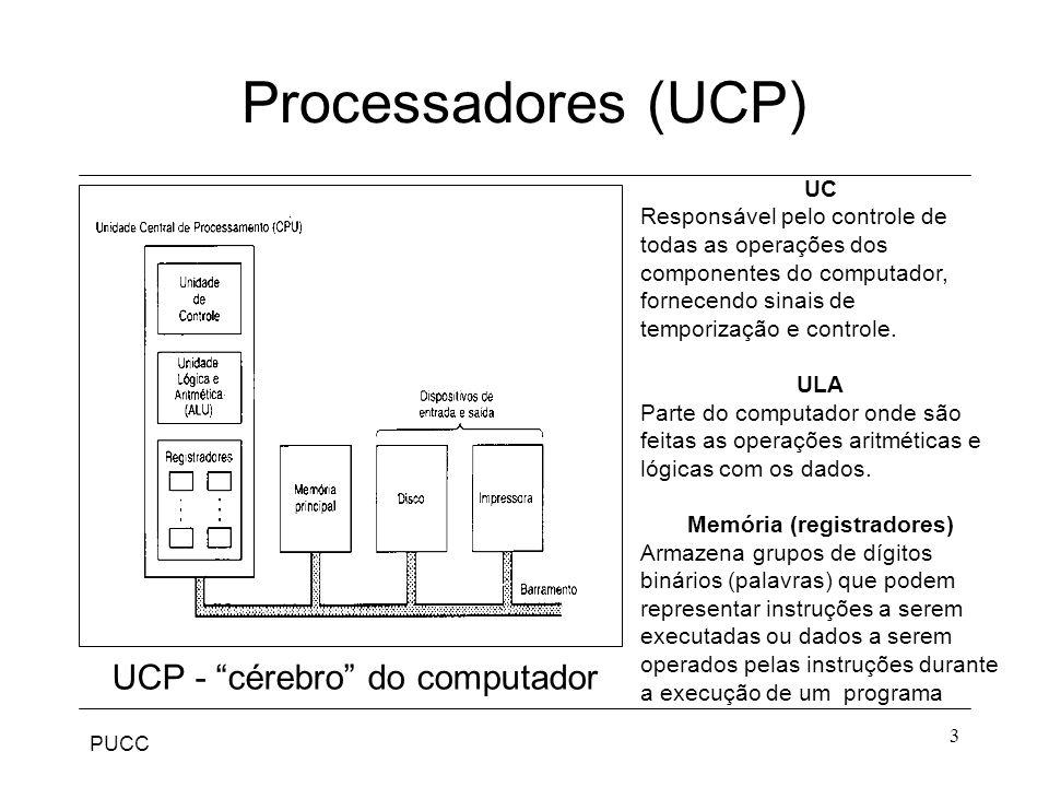Processadores (UCP) UCP - cérebro do computador UC