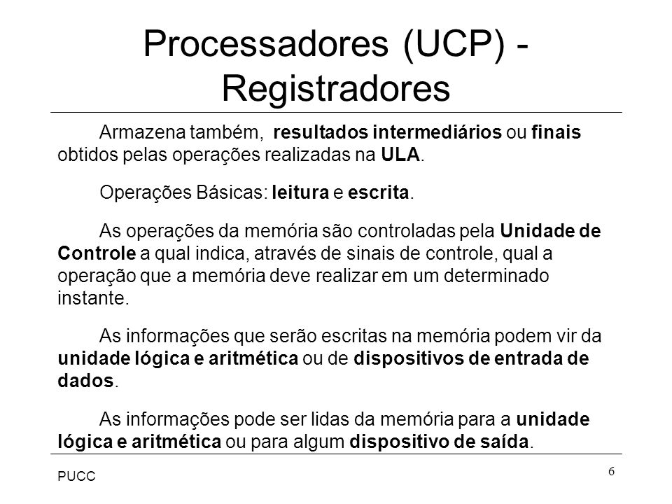 Processadores (UCP) - Registradores