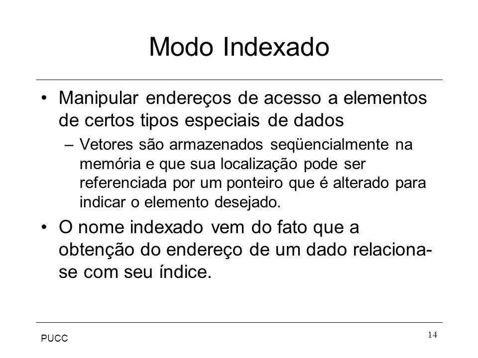Modo Indexado Manipular endereços de acesso a elementos de certos tipos especiais de dados.