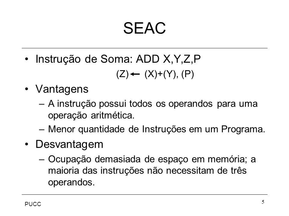 SEAC Instrução de Soma: ADD X,Y,Z,P Vantagens Desvantagem