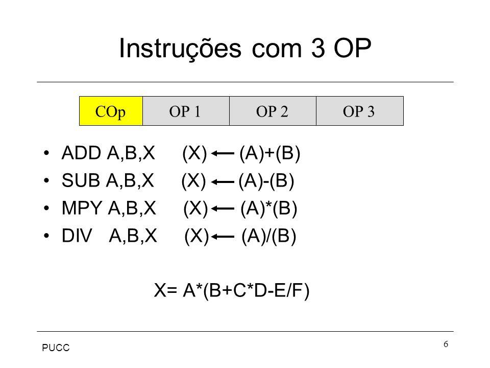 Instruções com 3 OP ADD A,B,X (X) (A)+(B) SUB A,B,X (X) (A)-(B)