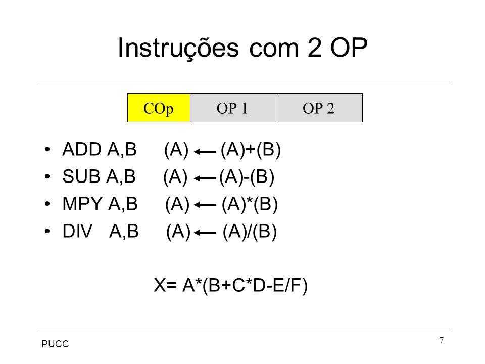 Instruções com 2 OP ADD A,B (A) (A)+(B) SUB A,B (A) (A)-(B)