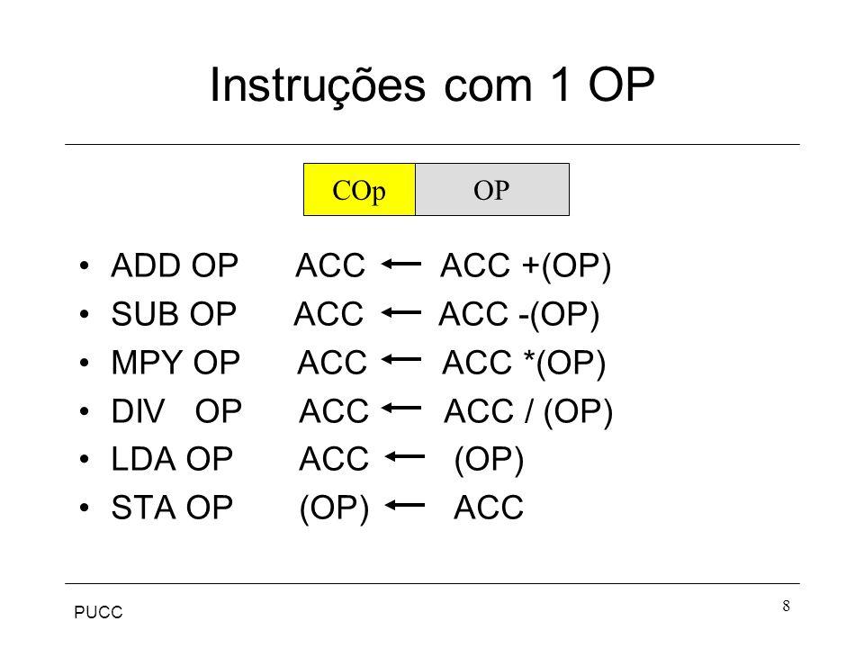 Instruções com 1 OP ADD OP ACC ACC +(OP) SUB OP ACC ACC -(OP)