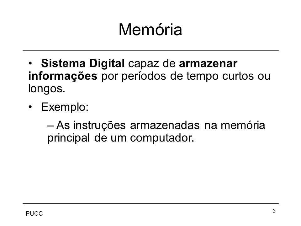Memória Sistema Digital capaz de armazenar informações por períodos de tempo curtos ou longos. Exemplo: