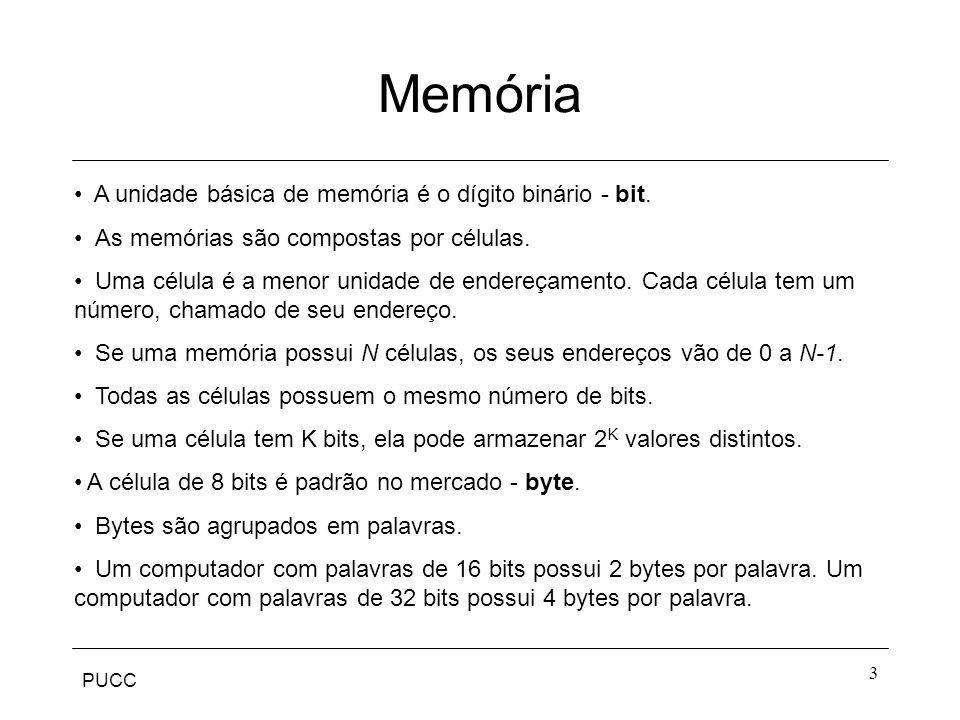 Memória A unidade básica de memória é o dígito binário - bit.