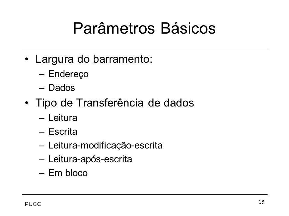 Parâmetros Básicos Largura do barramento: