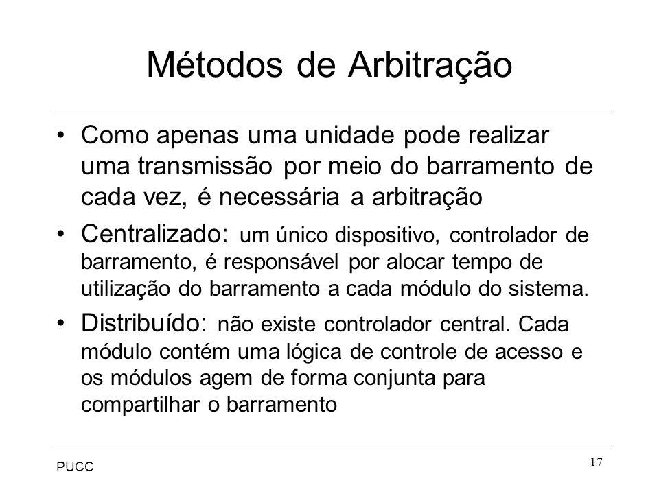 Métodos de Arbitração Como apenas uma unidade pode realizar uma transmissão por meio do barramento de cada vez, é necessária a arbitração.