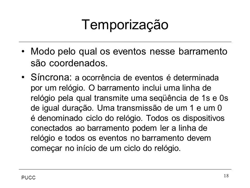 Temporização Modo pelo qual os eventos nesse barramento são coordenados.