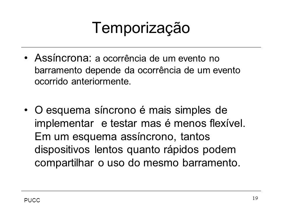 Temporização Assíncrona: a ocorrência de um evento no barramento depende da ocorrência de um evento ocorrido anteriormente.