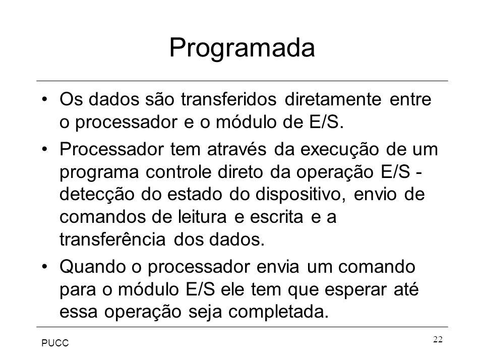 Programada Os dados são transferidos diretamente entre o processador e o módulo de E/S.