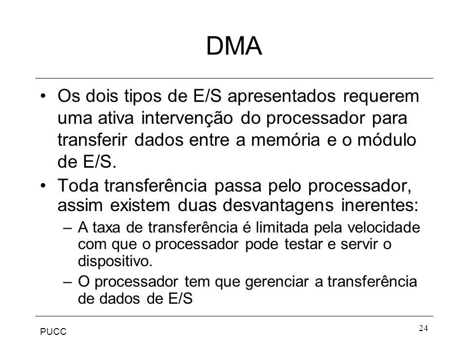 DMA Os dois tipos de E/S apresentados requerem uma ativa intervenção do processador para transferir dados entre a memória e o módulo de E/S.