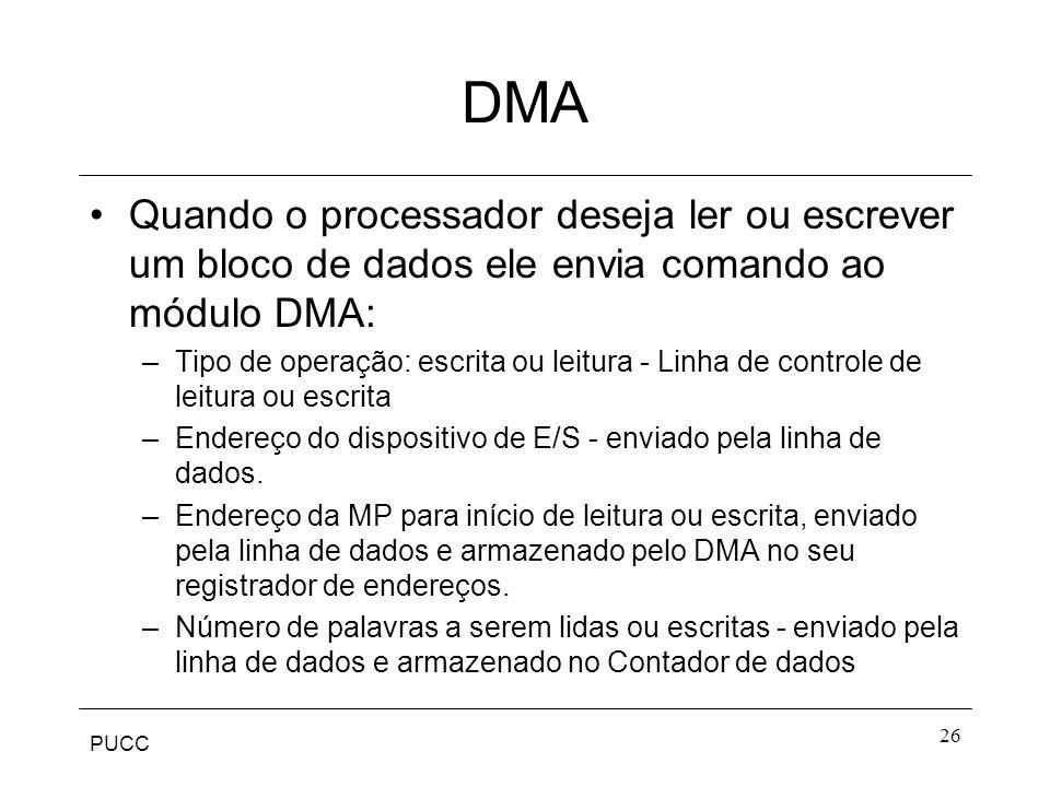 DMA Quando o processador deseja ler ou escrever um bloco de dados ele envia comando ao módulo DMA: