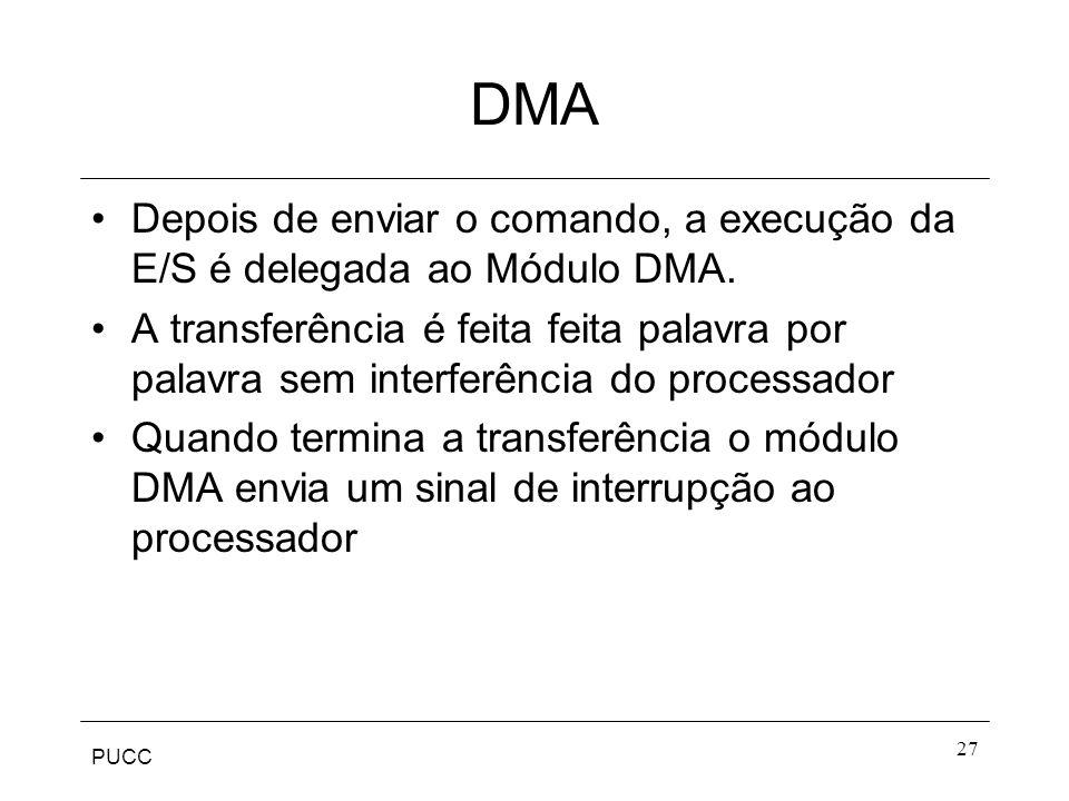 DMA Depois de enviar o comando, a execução da E/S é delegada ao Módulo DMA.