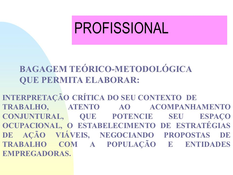 PROFISSIONAL BAGAGEM TEÓRICO-METODOLÓGICA QUE PERMITA ELABORAR: