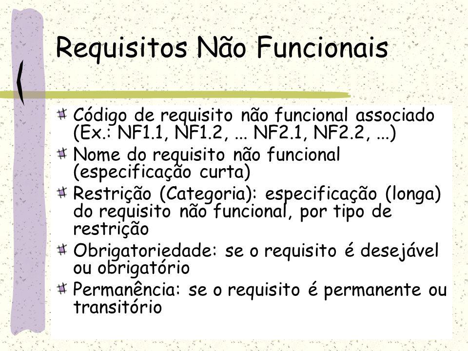 Requisitos Não Funcionais