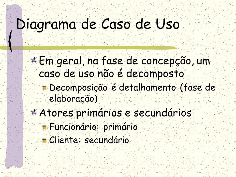 Diagrama de Caso de Uso Em geral, na fase de concepção, um caso de uso não é decomposto. Decomposição é detalhamento (fase de elaboração)