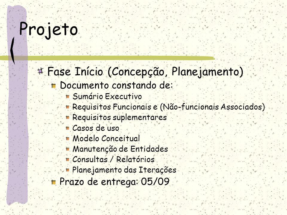Projeto Fase Início (Concepção, Planejamento) Documento constando de: