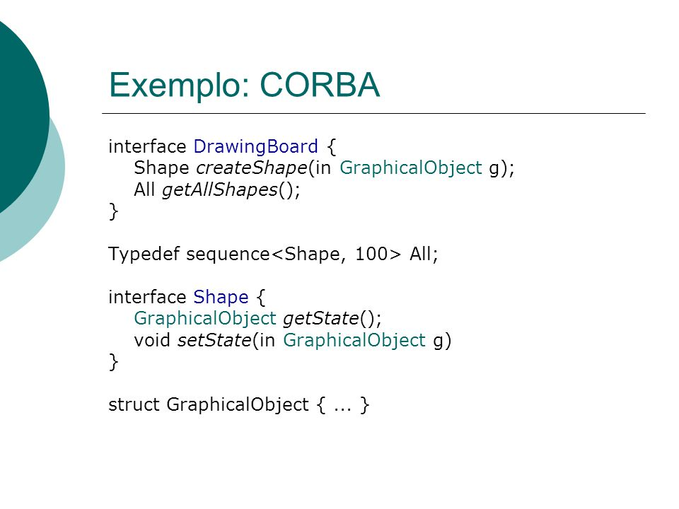Exemplo: CORBA interface DrawingBoard {