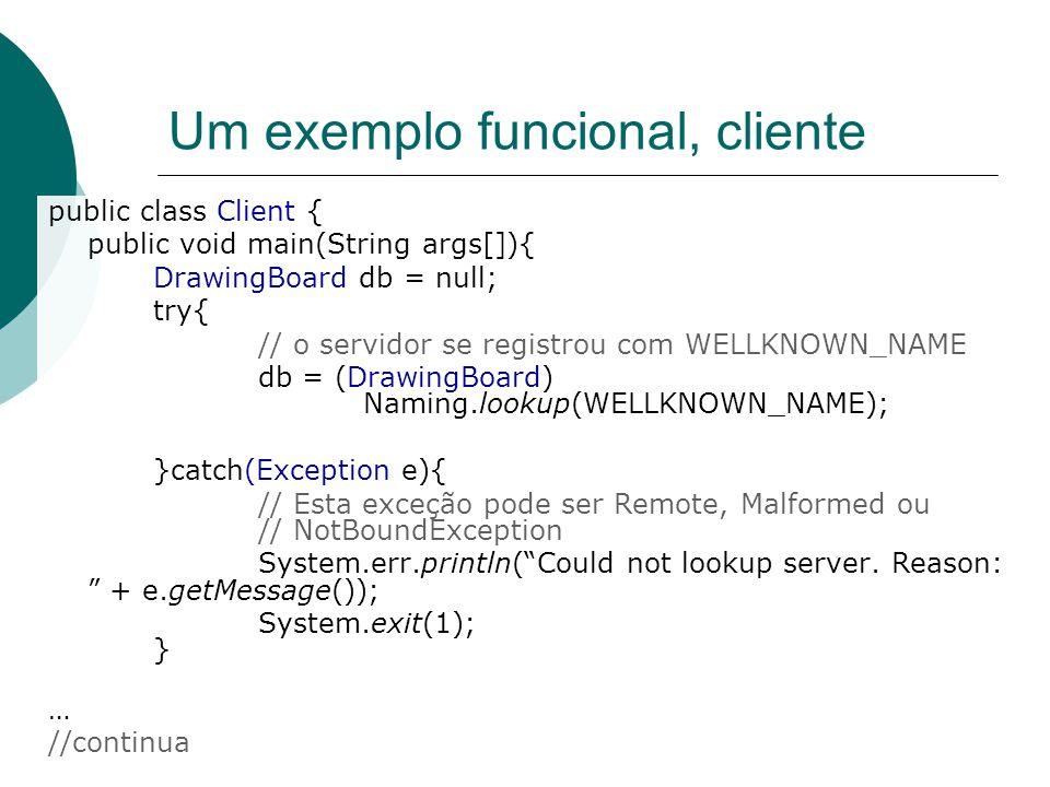 Um exemplo funcional, cliente