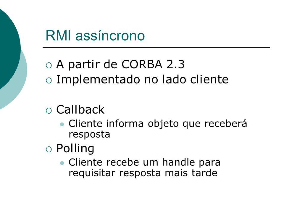 RMI assíncrono A partir de CORBA 2.3 Implementado no lado cliente