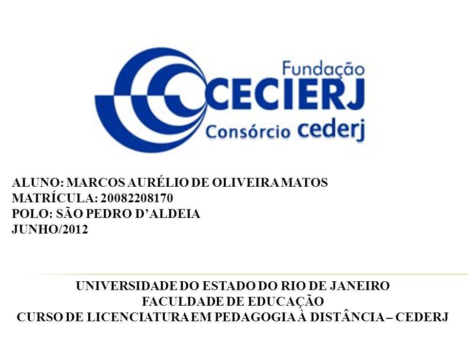 ALUNO: MARCOS AURÉLIO DE OLIVEIRA MATOS MATRÍCULA: 20082208170 POLO: SÃO PEDRO D'ALDEIA JUNHO/2012