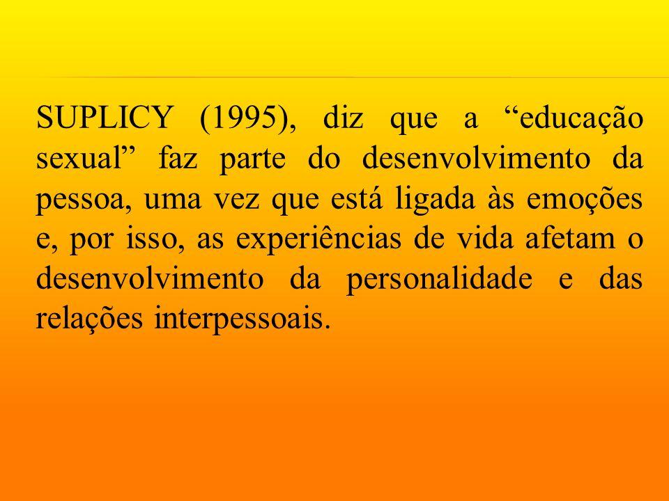 SUPLICY (1995), diz que a educação sexual faz parte do desenvolvimento da pessoa, uma vez que está ligada às emoções e, por isso, as experiências de vida afetam o desenvolvimento da personalidade e das relações interpessoais.