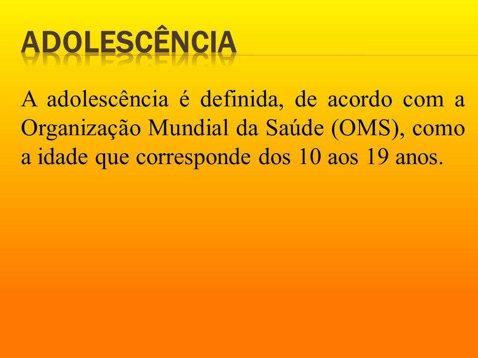 Adolescência A adolescência é definida, de acordo com a Organização Mundial da Saúde (OMS), como a idade que corresponde dos 10 aos 19 anos.