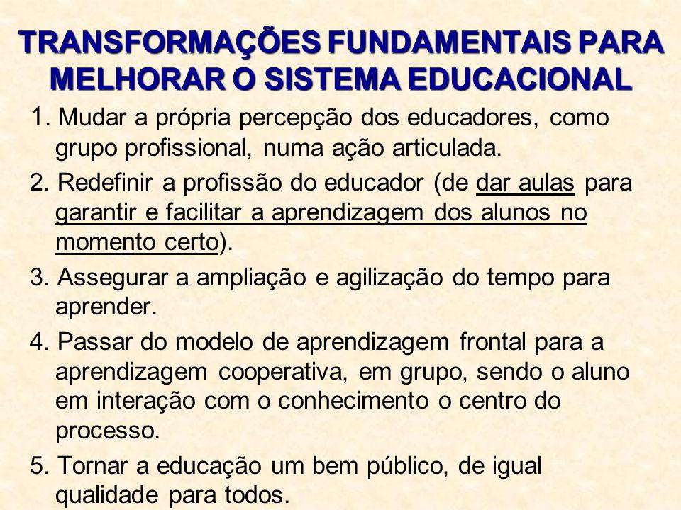 TRANSFORMAÇÕES FUNDAMENTAIS PARA MELHORAR O SISTEMA EDUCACIONAL