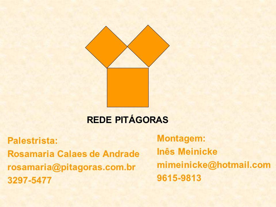REDE PITÁGORAS Montagem: Inês Meinicke. mimeinicke@hotmail.com. 9615-9813. Palestrista: Rosamaria Calaes de Andrade.