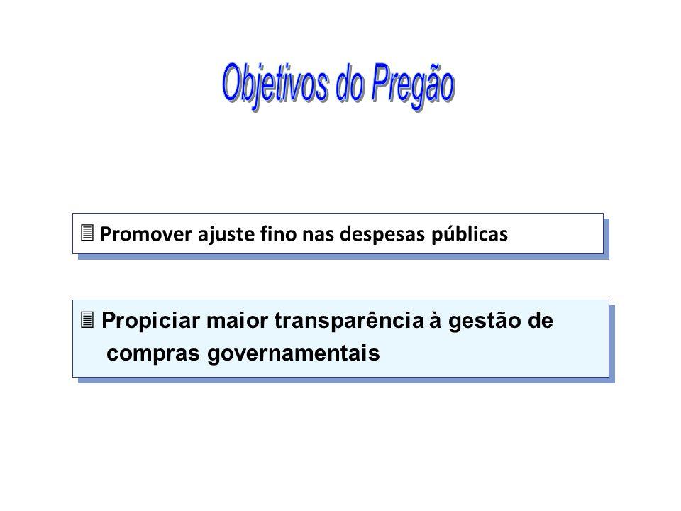 Objetivos do Pregão  Promover ajuste fino nas despesas públicas