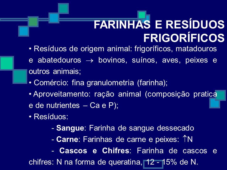 FARINHAS E RESÍDUOS FRIGORÍFICOS