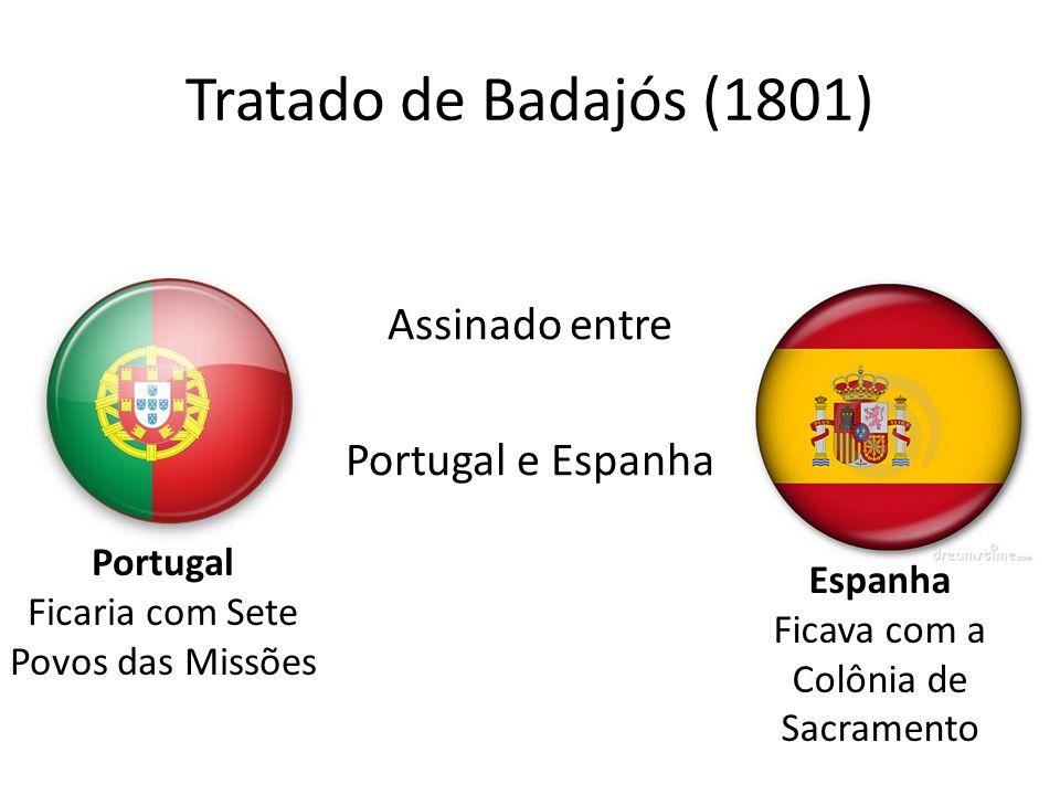 Tratado de Badajós (1801) Assinado entre Portugal e Espanha Portugal