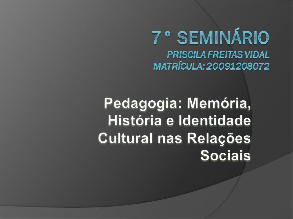 7° SEMINÁRIO Priscila Freitas Vidal Matrícula: 20091208072