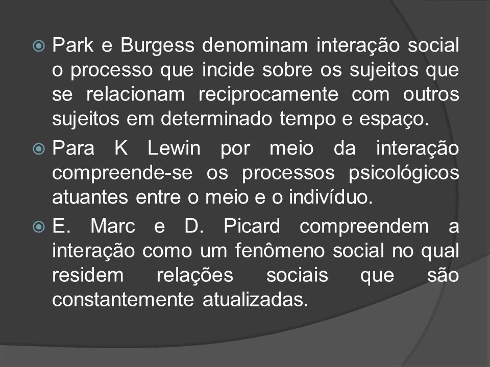 Park e Burgess denominam interação social o processo que incide sobre os sujeitos que se relacionam reciprocamente com outros sujeitos em determinado tempo e espaço.