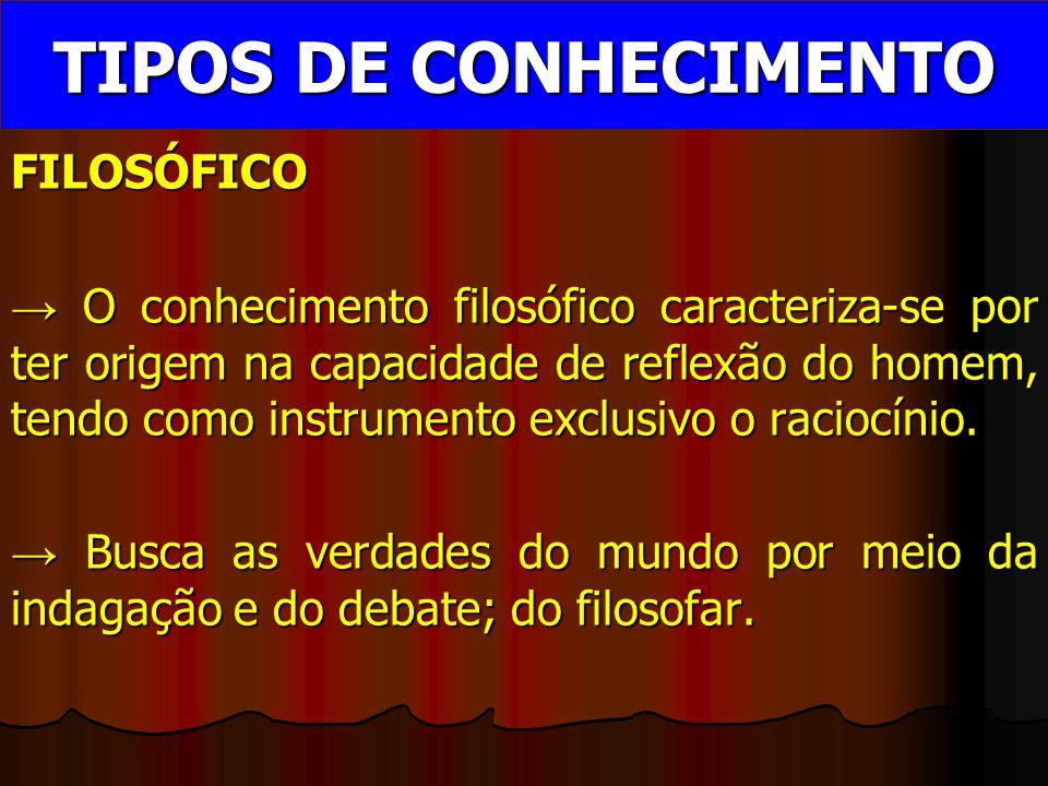 TIPOS DE CONHECIMENTO FILOSÓFICO