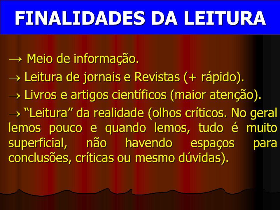 FINALIDADES DA LEITURA