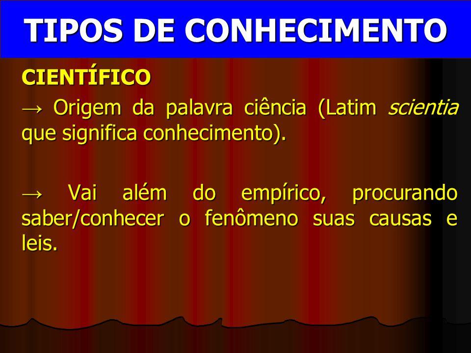 TIPOS DE CONHECIMENTO CIENTÍFICO