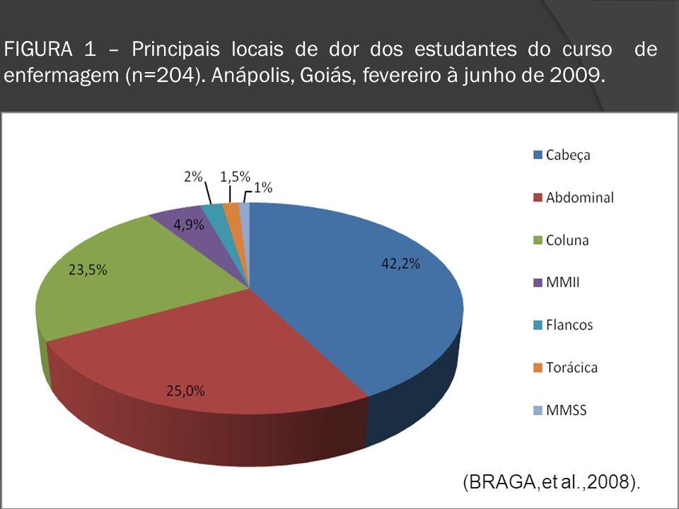 FIGURA 1 – Principais locais de dor dos estudantes do curso de enfermagem (n=204). Anápolis, Goiás, fevereiro à junho de 2009.